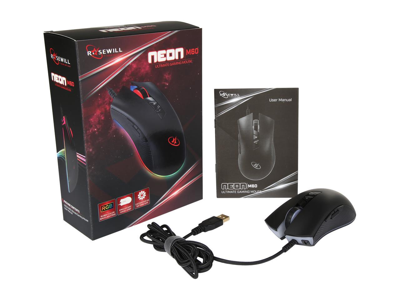 Rosewill 12000DPI RGB Backlit Optical Wired Gaming Mouse NEON 60 ...